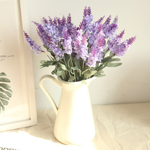 10 Head/Bouquet Romantic Provence Artificial Flower Purple Lavender Bouquet with Green Leaves for Wedding Home Party Decorations