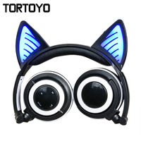Cute Cartoon Wireless Bluetooth Cat Ear Headphone vs Microphone LED Luminous Foldable Rechargeable Gaming Headset for Smartphone