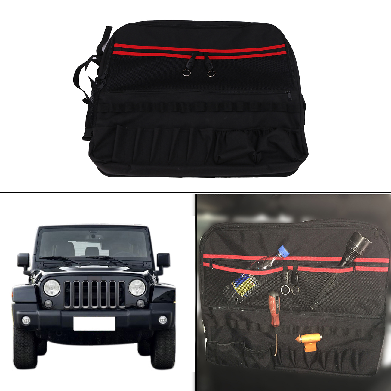 Left Side Roll Bar Storage Bag Luggage For Jeep Wrangler JK 2 Door 2007-2017 Car Tool Kits Bottle Drink Phone Holder #CE059-L 2 pcs black car styling parts front rear grab bar handles for jeep wrangler jk 2007 2017 new fashion upgraded