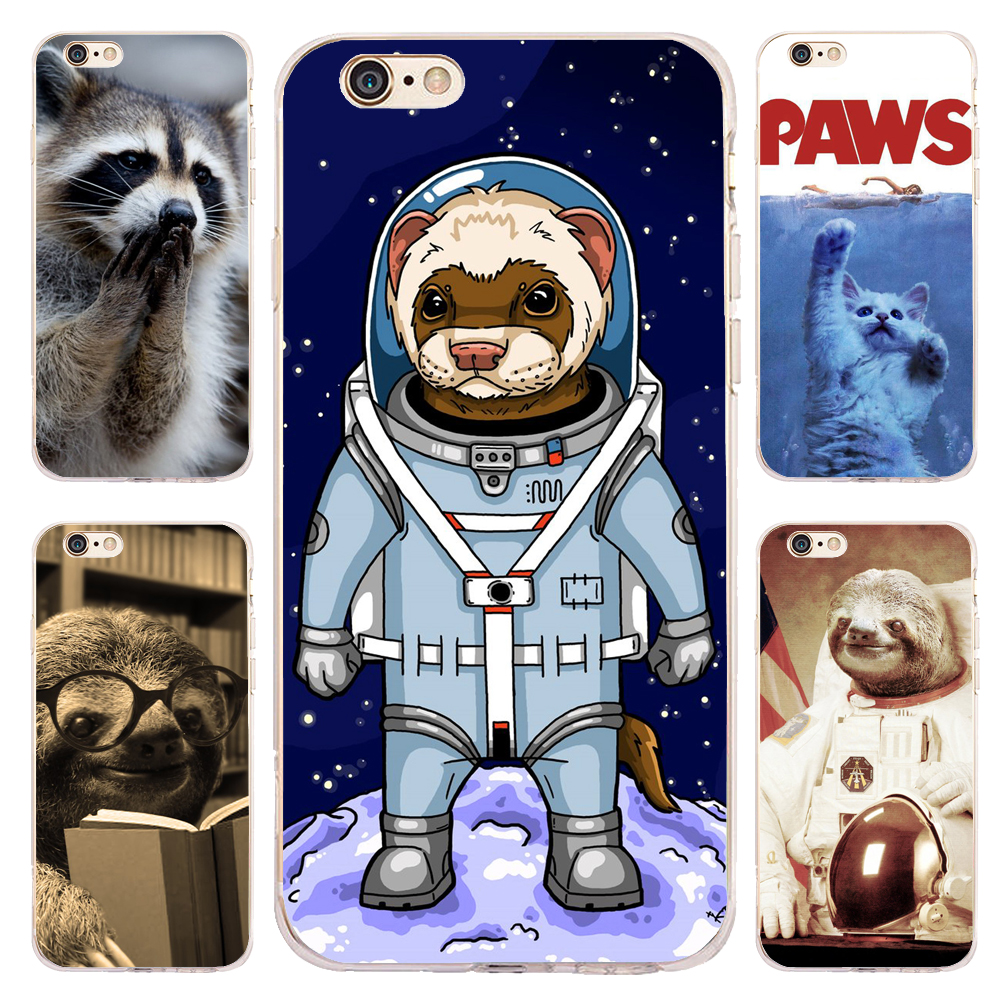 Coque Funny Raccoon Sloth Clear Soft TPU Silicone Phone Cover for iPhone 5S 5 SE 6 6S Plus 5C 4S X 7 8 Plus iPod Touch 6 5 Case
