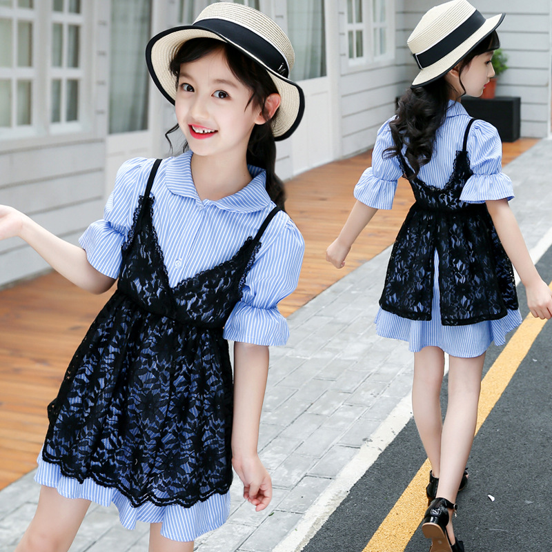 4th Of July Suits Toddler Infant Baby Girls Clothes Sets Short Sleeve Cotton Lace Blouses + Striped Dress Children Clothing Set hurave 2018 baby girls clothes children sleeveless crew neck mesh tutu dresses causal striped cotton infant lace shirts dress