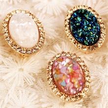 Retro Big Gem Stone Stud Earrings Oval Earrings Jewelry for Women