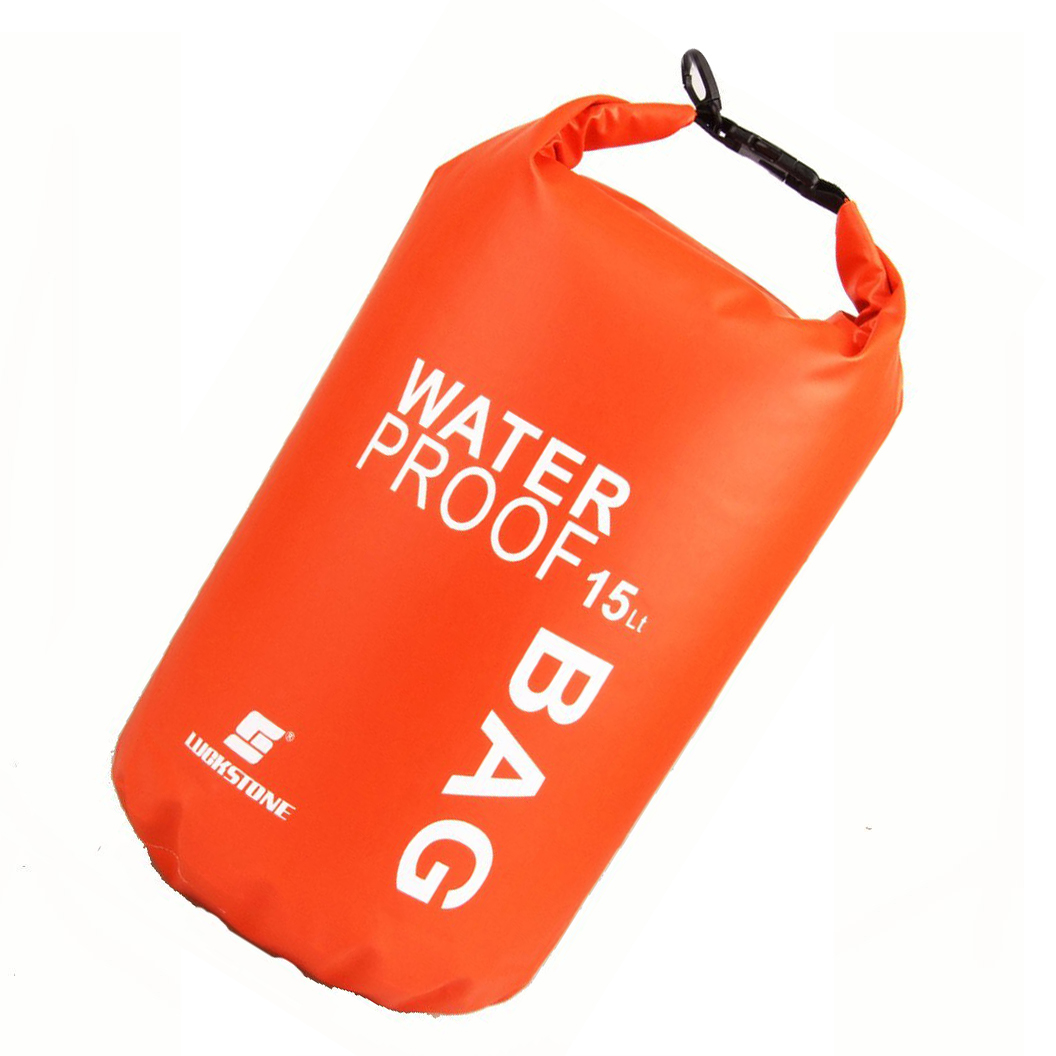 LUCKSTONE Waterproof Bag Pouch for Camping Kayak Fishing Rafting Canoe-kayak 15L Orange