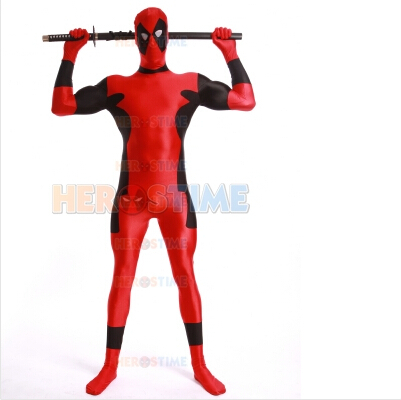 Strong Deadpool Costume Red And Black Spandex Fullbody Zentai Suit Halloween Costume Free Shipping