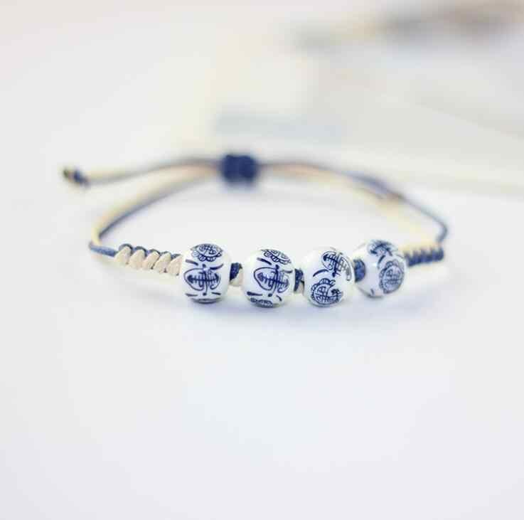 2018 ювелирные изделия повседневные фарфоровые браслеты для женщин регулируемые керамические бусины ручной работы восковые веревки браслеты для женщин подарок девушки
