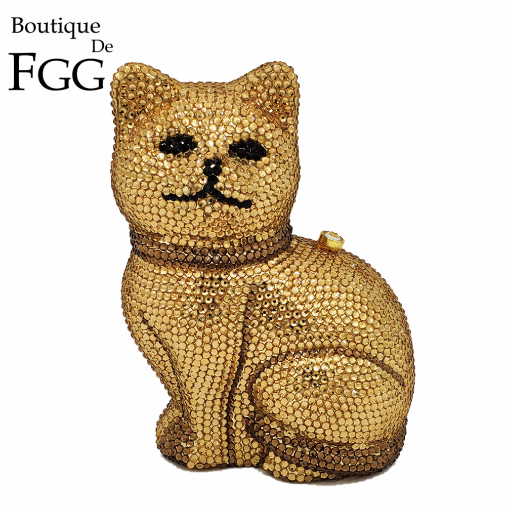 Boutique De FGG Lovely 3D Cat Women Golden Crystal Minaudiere Clutch Animal Evening Bags Ladies Formal