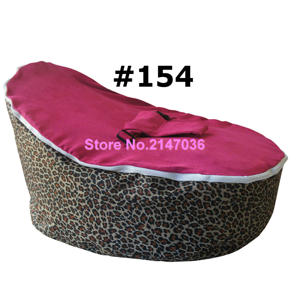 Hot pink <font><b>leopards</b></font> baby bean bag sofa seat - great chair for you new born and elder babies - Modern portable easy chair