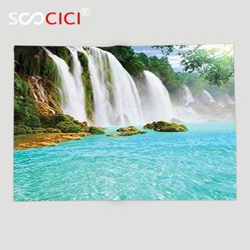 Custom Soft Fleece Throw Blanket Waterfall Decor Collection Ban Gioc Detian Waterfall Forest Tropical Waterscape Clear Pool