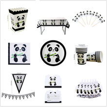 2019 Panda Thema Geburtstag Party Dekoration Kinder Artikel Partei Besteck Set Cartoons Panda Papier Cup Tray Baby Dusche Dekorationen- S(China)