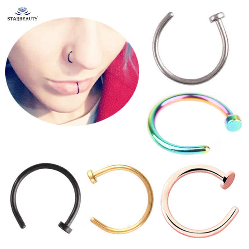 2 pcs/lot 18G C Fake Nose Ring Fake Piercing Nose Piercing Tragus Nostril Piercing Labret Lip Ring Pircing Clip Earring Jewelry