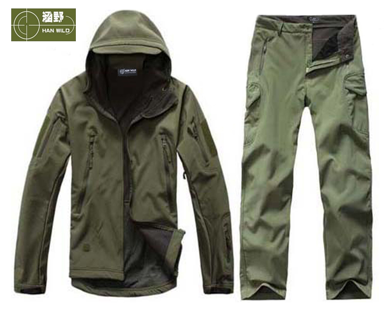 HANWILD Man Winter Waterproof Hunting Fishing Camping Camouflage Outdoor Hiking Jacket Suit Army Military Hood Softshell Pant S2 man new winter waterproof fishing trousers tactical softshell hunting outdoor jackets set army suit military pants