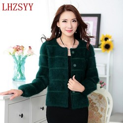 2017 autumn winter new female solid color short section mink cashmere coat cardigan sweaters thick o.jpg 250x250