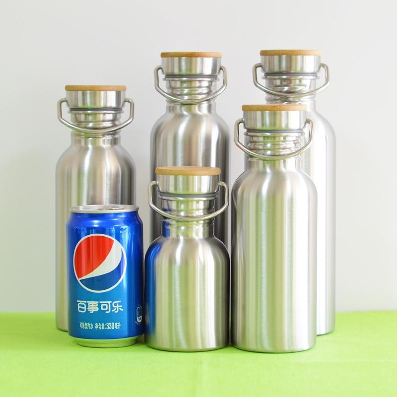 Botella de agua de acero inoxidable libre de BPA Tapa de bambú - Cocina, comedor y bar - foto 6