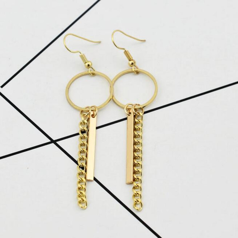 2018 New Punk Style Tassel gold Earrings For Men Women Korea BTS JIMIN Stud Earrings Statement Jewelry Exquisite Gift Wholesale