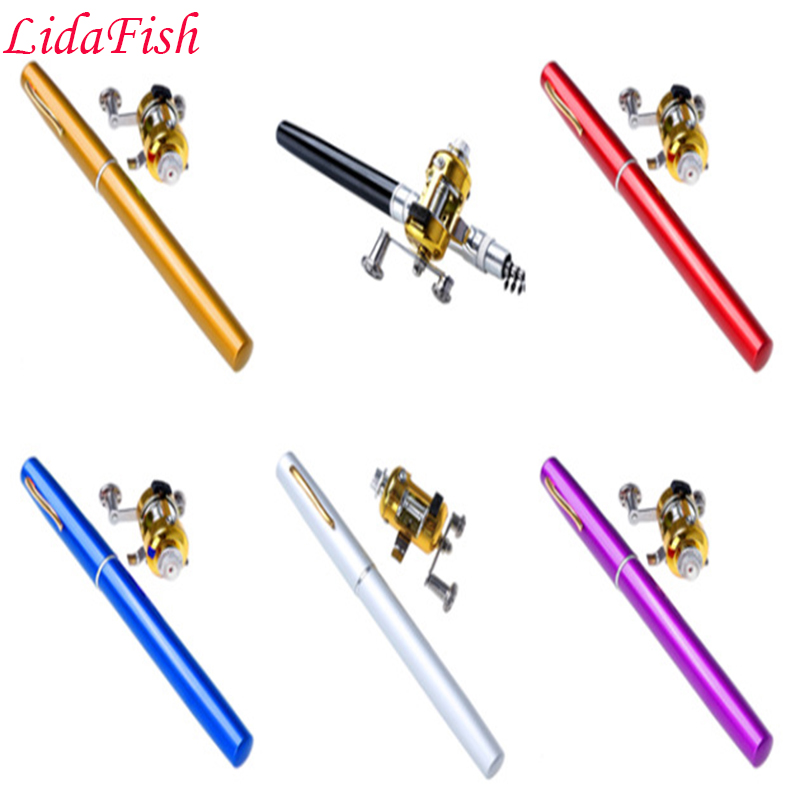 Authentic pocket pen pole fishing rod with drum wheel small sea pole portable fishing rod peche