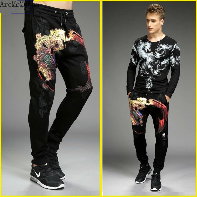AreMoMuWha [Two-piece] Casual Sports Sets Dragon Tattoo Long-sleeved T-shirt Men's Bottoming Shirt Autumn Slim Feet Pants QX1093