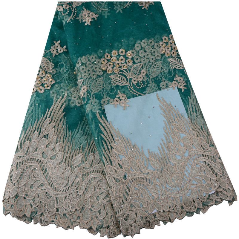 African Lace Fabric 2018 High Quality Nigerian Lace Fabrics Green Embroidery French Tulle Lace Fabric For