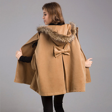 Новинка, женские зимние куртки и пальто размера плюс, Женская Повседневная свободная накидка, рукав летучая мышь, шерсть, меховой воротник, пончо, куртка, плащ, пальто