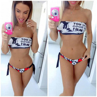 2016 Summer Fashion English Alphabet Mickey Mouse Sexy Bikini For Women Swimsuit Split Swimsuit Swimwear Bathing