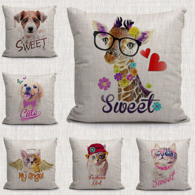 lovely sweet dogs and cats decorative pillow case make up animals Making Decorative Pillow Covers