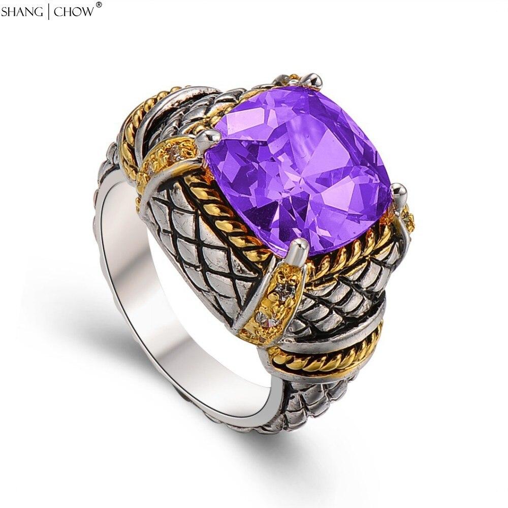 fa61ff3af497e 925 خاتم فضة ، 2018 خمر مجوهرات مع الأرجواني حجر الكوارتز للرجال الكرة ثوب  عيد الاكسسوارات هدية R1493