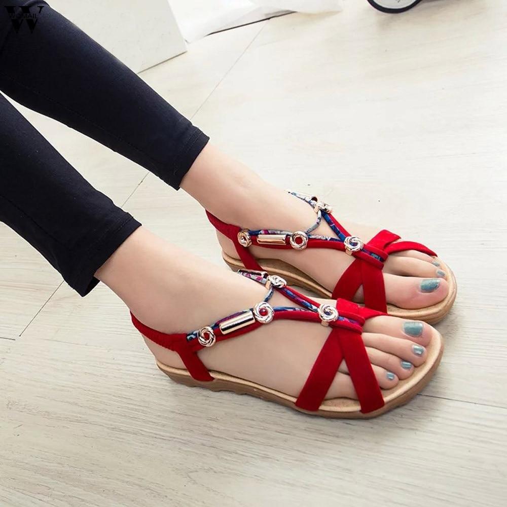 Women Sandals Summer Beach Sandals Flip Flops Bohemian Women Shoes Fashion Beaded Flat Sandals Jan14 girl shoes in sri lanka