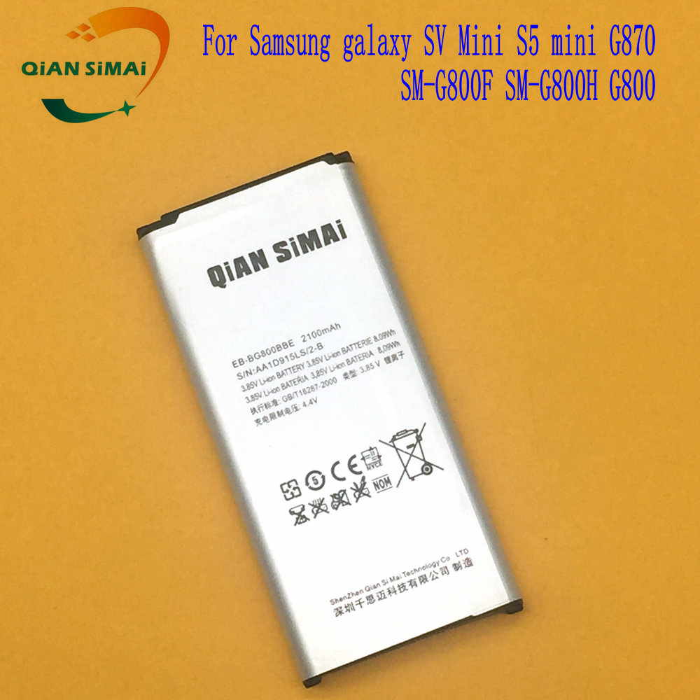 QiAN SiMAi 1PCS 2017 New EB-BG800BBE EB BG800BBE Battery for Samsung galaxy SV Mini S5 mini G870 SM-G800F SM-G800H G800 phone