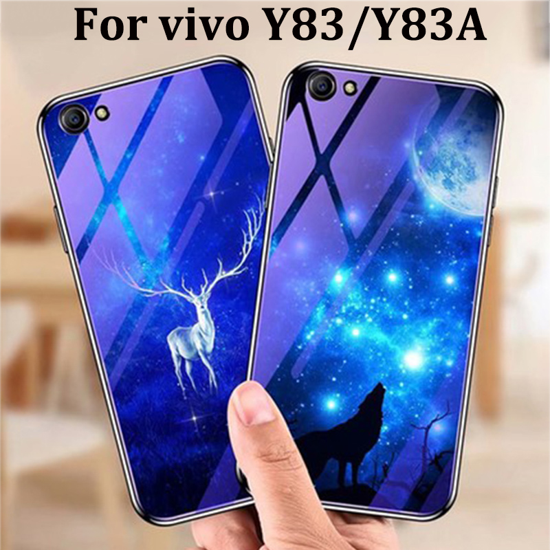 For vivo Y83 Y83A case cover blue Tempered Glass back cover For vivo Y 83 Y83 A shell phone cases For vivo Y83 fundas capas