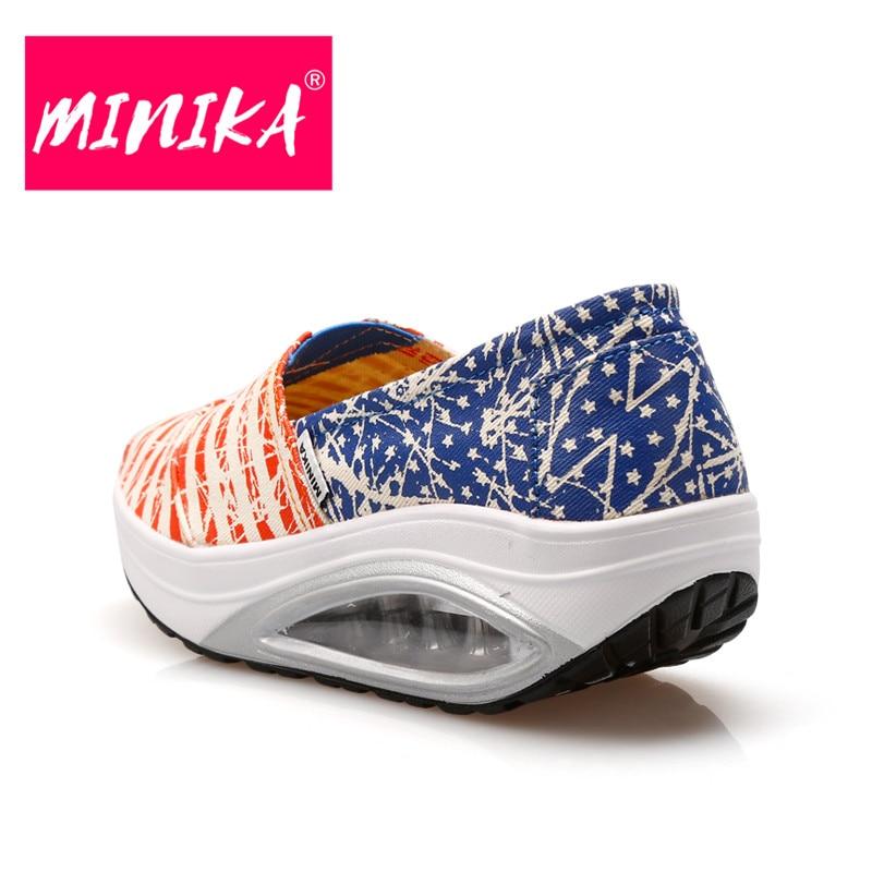 MINIKA 2017 Nueva Mezcla de Colores Rayas Mujeres Agitar Zapatos de - Zapatos de mujer - foto 3