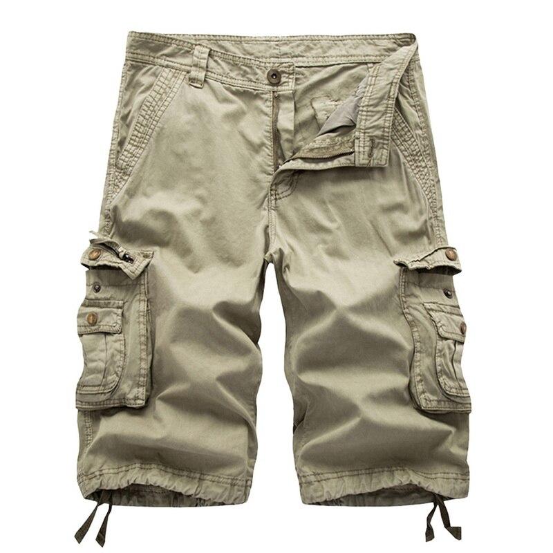 MJARTORIA Cargo-Shorts Loose Summer Camo Military Knee-Length Multi-Pocket Plus-Size