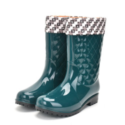 Rouroliu Women Non-slip PVC Rain Boots Waterproof Water Shoes Woman Wellies Mid-Calf Rainboots Winter Warm Inserts  RT171 4
