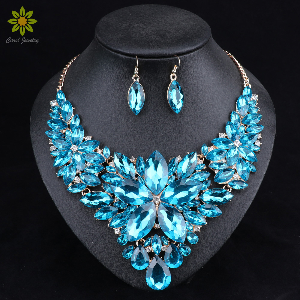 Fashion Crystal Jewelry Sets Bridal Necklace Earrings Sets Wedding Party Jewelery Dress