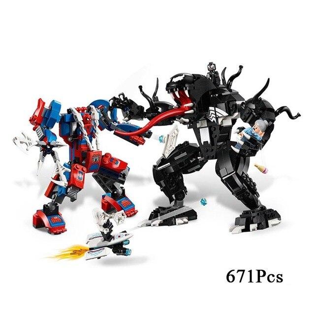 2019 NEW HOT Maravilhas Super Heroes Set Spiderman Venom Mech Mecha Building Blocks Brinquedos Para Crianças Compatível com N ° 76115