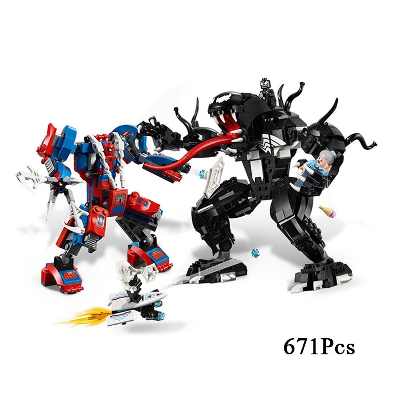 2019 NEW HOT Marvels Super Heroes Set Spiderman Mech Venom Mecha Building Blocks Toys For Children Compatible with No. 761152019 NEW HOT Marvels Super Heroes Set Spiderman Mech Venom Mecha Building Blocks Toys For Children Compatible with No. 76115