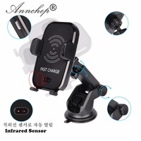 Automatic Infrared Senser Mobile Phone Qi Fast Car Wireless Charger for iPhone X 8 Plus Samsung S9 S8 Plus S7 Note 8 Note 5