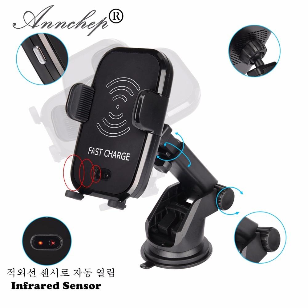 Automatico A Raggi Infrarossi Senser Del Telefono Mobile Qi Veloce Caricabatteria Da Auto Senza Fili per il iphone X 8 Più di Samsung S9 S8 Più S7 nota 8 Nota 5