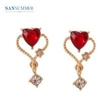Sansummer 2019 New Style Hot Fashion Red Heart Glisten Girl Romantic Feautiful Drop Earrings For Women Charm Jewelry 5126