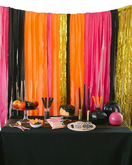 aliexpresscom buy 16pcs set halloween decorations background foil curtain fringe crepe paper streamers blackorangefuchsiagold party decor from - Black And Orange Halloween