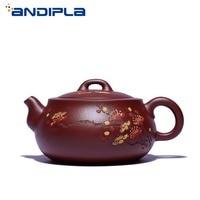 260cc Authentic Yixing Teapot Boutiques Plum Scoop Pot Purple Clay Teaware Master Handmade Vintage Kung Fu Tea Set Zisha Tea Pot