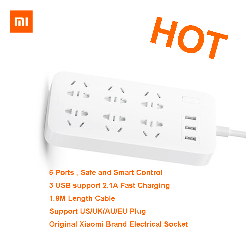 XiaoMi Mi Smart Power Strip 6 Ports with 3 USB Fast Charging 2 1A USB Power Plug Charger Socket US UK EU AU Power strip in Extension Socket from Consumer Electronics