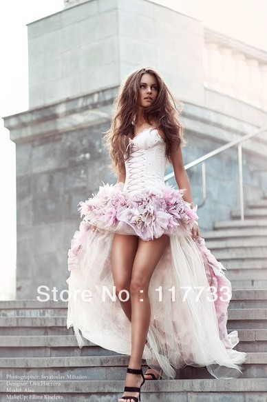 a15edc113f wholesale New Arrival 2013 Sexy High Low Satin Sweetheart Organza Pink  Corset Wedding Dress For Bridal With Flowers