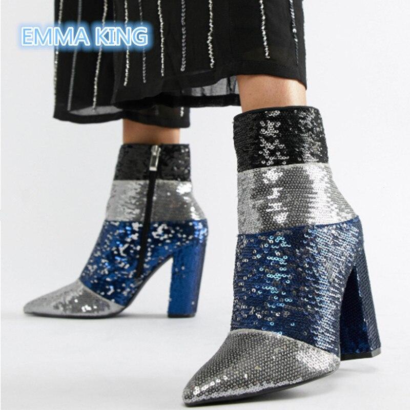 Klobigen Picture Stiefel Heels Bling Frühjahr Zipper Schuhe As Frau Booties Spitz Frauen Pailletten Ankle High Mode Seite Mischfarben Martin gxUxYB