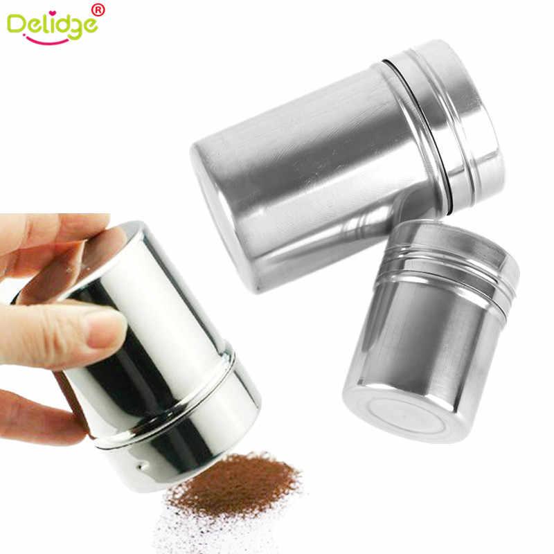 Delidge 1 pc Multifunções de Chocolate Cacau Café Liquidificador Pó Polvilhar Pimenta Saleiro Em Aço Inoxidável Pote de Cozinha Ferramentas