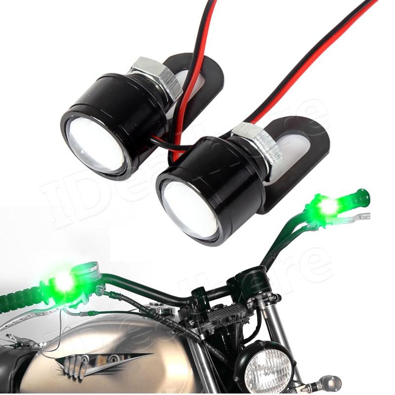 1 Pair Motorcycle Green LED Flashing Spot Light Mirror