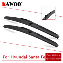 KAWOO For Hyundai Santa Fe Model Year From 1999 To 2017 Car Natural Rubber Clean The Windshield Wipers Blades Fit U Hook Arm(China)