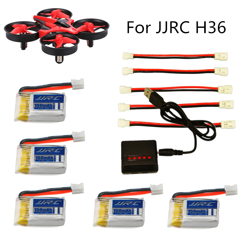JJRC H36 battery RC Quadcopter helicopter Spare Parts Accessories 3.7V 150mAh Battery and H36 multi- Charger Lipo battery 3pcs battery and european regulation charger with 1 cable 3 line for mjx b3 helicopter 7 4v 1800mah 25c aircraft parts