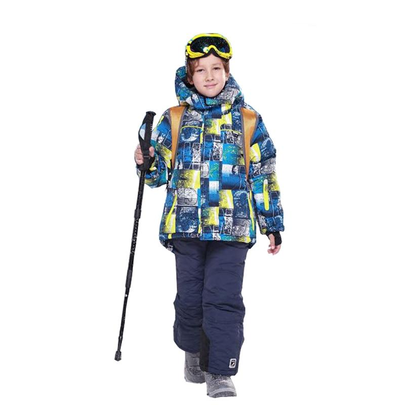 2pcs Suit 2018 -30 Degrees Children's Ski Sport Suits for Boys Set Winter Kids Clothes Warm Hooded Jacket Coat+Ski Pants toddler girls hello kitty clothes set winter thick warm clothes plus velvet coat pants rabbi kids infant sport suits w133