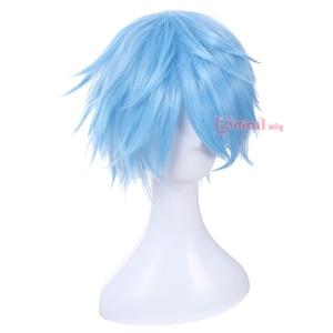 Image 3 - L email Peluca de Cosplay Kuroko no Basket para hombre, peluca corta de pelo sintético azul claro de 30cm