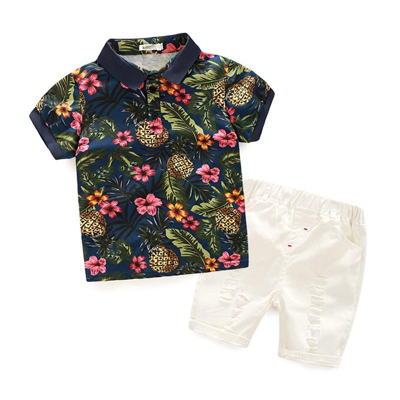 Kids Clothing Sets Kids Clothes Summer Baby Sets Boy Clothes Cotton Short Sleeved Flower Pattern Shirt + Hole Jeans Suit Costume