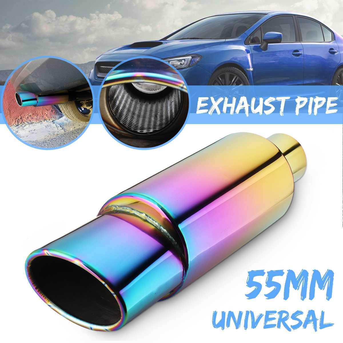 Универсальный 55 мм на входе выхлопной трубы автомобиля глушитель выхлопной наконечник выхлопной трубы из нержавеющей стали 86,5 мм выход|Шумоглушители|   | АлиЭкспресс